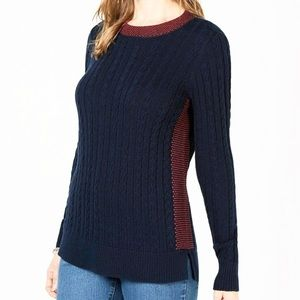 Charter Club Long Sleeve Navy Blue Ribbed Sweater